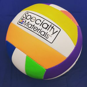 A volleyball pressed with Leather/Vinyl ColorPrint™ Solvent/Ecosol