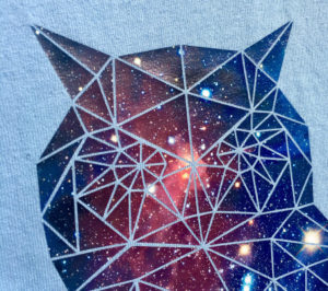 A geometic owl printed with a galaxy pattern in Ultimate Print Soft Matte UPSM-4032