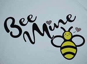 """Image depicting the downloadable cut file that says """"Bee Mine"""" with a cute bee"""