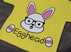 """Image depicting the downloadable cut file that says """"Egghead"""" with a rabbit in glasses"""