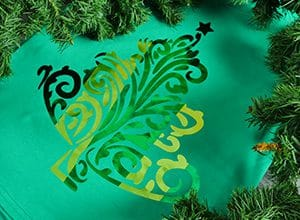 Image depicting the downloadable cut file that has a Christmas tree made of swirls