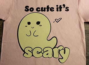 """Image depicting the downloadable cut file that says """"So Cute It's Scary"""" with a cute ghost"""