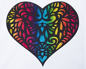 Image depicting the downloadable cut file that has a heart and decorative elements