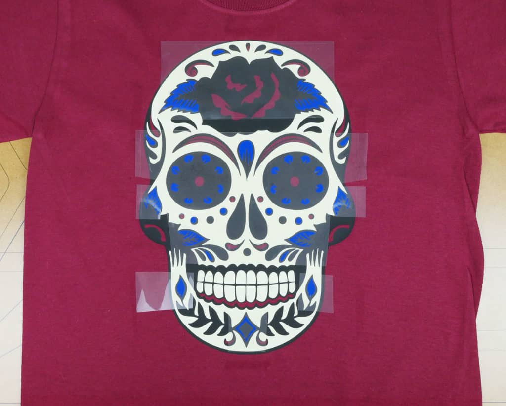 Showing layering the Royal Blue ThermoFlex Plus layer on the sugar skull