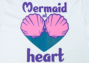 """Image depicting the downloadable cut file that says """"Mermaid at Heart"""" with seashells that form part of a heart"""