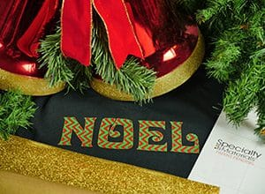 """Image depicting the downloadable cut file that says """"Noel"""" outlined in GlitterFlex Ultra"""