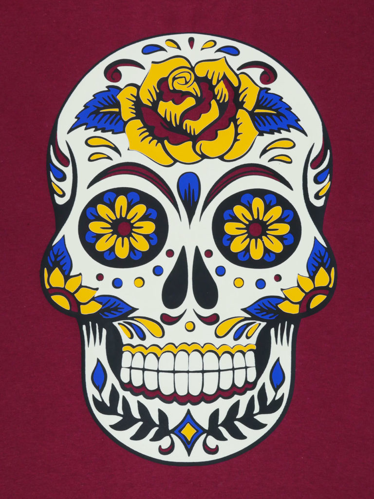 The finished sugar skull in the light