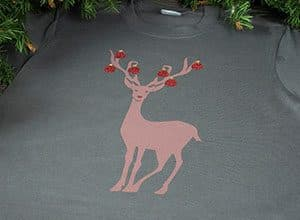 Image depicting the downloadable cut file that has a reindeer with ornaments on his antlers
