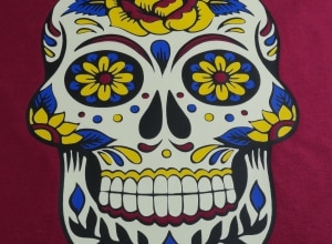 Image depicting the downloadable cut file that has a sugar skull made from five layers