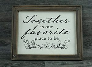 """Image depicting the downloadable cut file that says """"Together is Our Favorite Place to Be"""" and decorative flowers"""