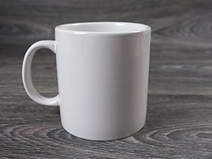 A picture of the blank mug we'll be using for the project- it's plain and white