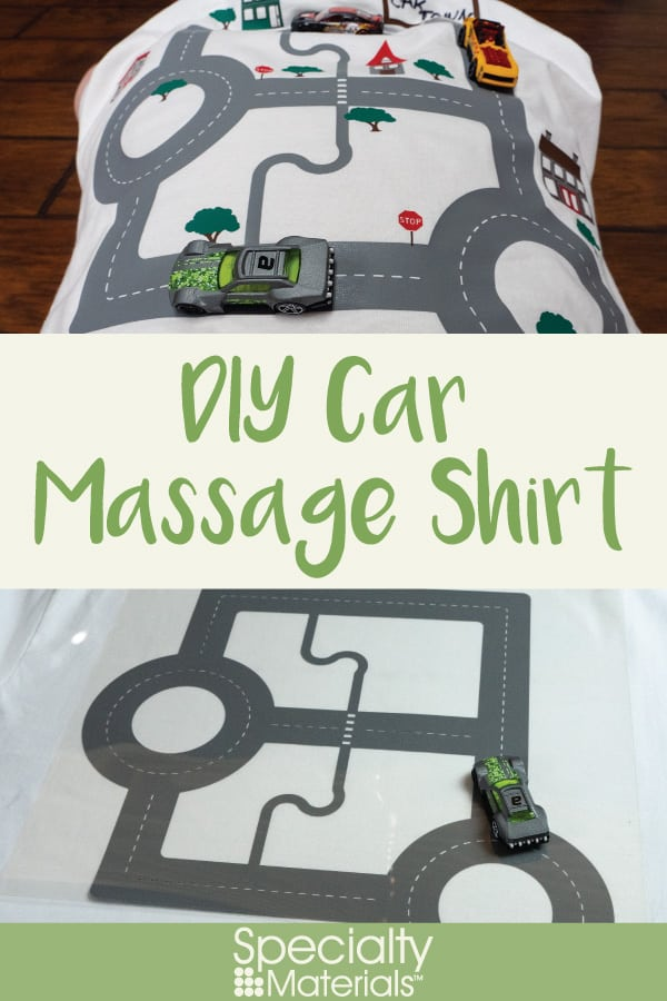 A pinable image for Pinterest for our DIY Car Massage Shirt blog post
