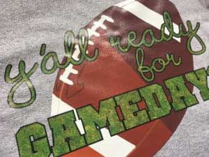 """CPS-2160 print and cut- the image reads """"Y'all ready for gameday"""" with a grass look and a football in the background."""