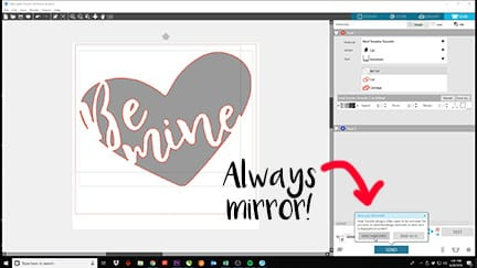 Showing how to send your design mirrored in Silhouette Studio