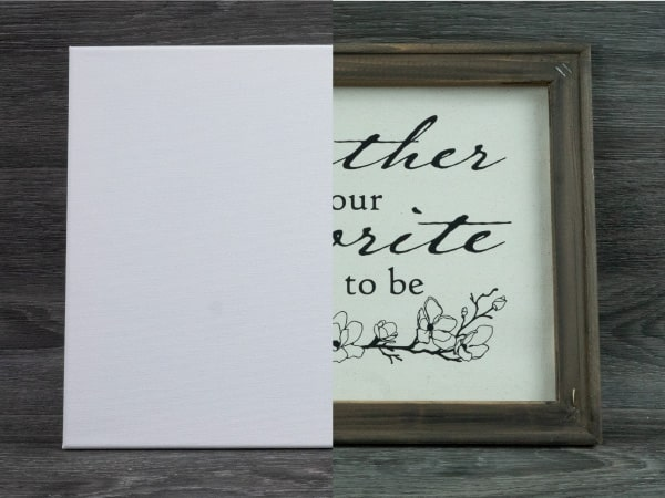 Showing the before and after- unused canvas and finished stained frame and pressed design