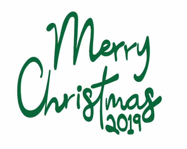 Image depicting some of the the downloadable cut file Merry Christmas 2019