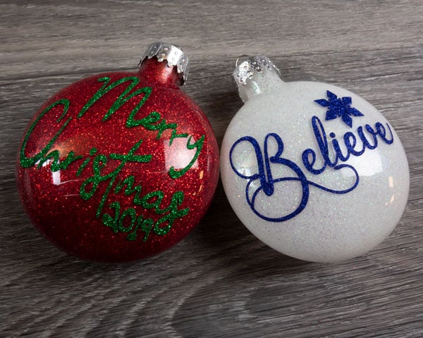 The final image of both completed ornaments using Pressure Sensitive GlitterFlex® Ultra