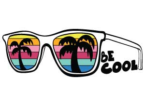 "Image depicting the downloadable cut file that says ""Be Cool"" with sunglasses"