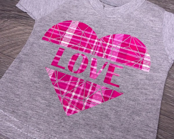 A heart with the word Love in it using Tartan Pink ThermoFlex Fashion Patterns