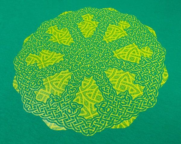 A Celtic knot design made using St. Pat's Celtic ThermoFlex Fashion Patterns Festive