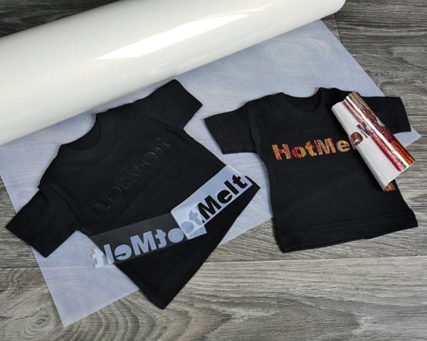 A roll of HotMelt, a shirt pressed with just HotMelt, and a shirt pressed with Textile Foils on top of HotMelt