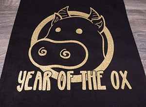 """The available cut file showing an ox with the words """"Year of the Ox"""""""