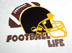 """Image depicting the downloadable cut file that says """"Football Life"""" with a handdrawn helmet and football"""