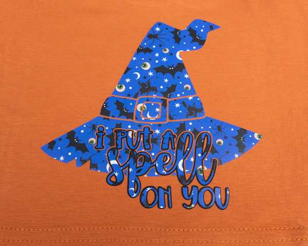 """A witch's hat design with the words """"I put a spell on you"""" made with Halloween Night Sky/Bats ThermoFlex® Fashion Patterns and Black ThermoFlex® Plus"""