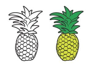 The design being offered for free as a cut file- a hand drawn pineapple